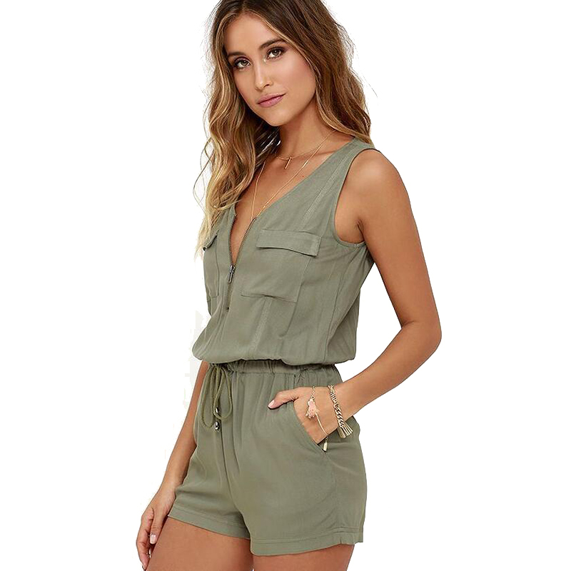 Deep V Neck Women Playsuit Sexy Sleeveless Hollow Out Slim Female Jumpsuit 2020 New Fashion Solid Zipper Playsuit For Women