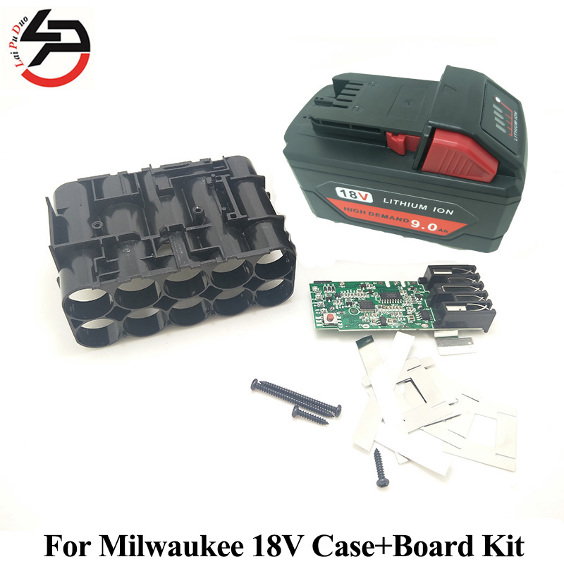M18 Li-ion Battery Plastic Case with Charging Protection Circuit For Milwaukee 18V M18 48-11-1815 9.0Ah PCB Board Kit