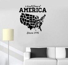 الفينيل زين USA USA خريطة الديكور الجدار ملصق الفن ملصق غرفة المعيشة نوم ديكور خلفية المنزل 2DT6