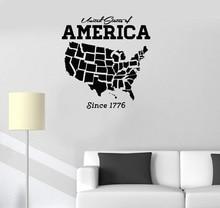 Vinyl Applique USA USA Karte Dekoration Wand Aufkleber Kunst Aufkleber Wohnzimmer Schlafzimmer Wohnkultur Tapete 2DT6