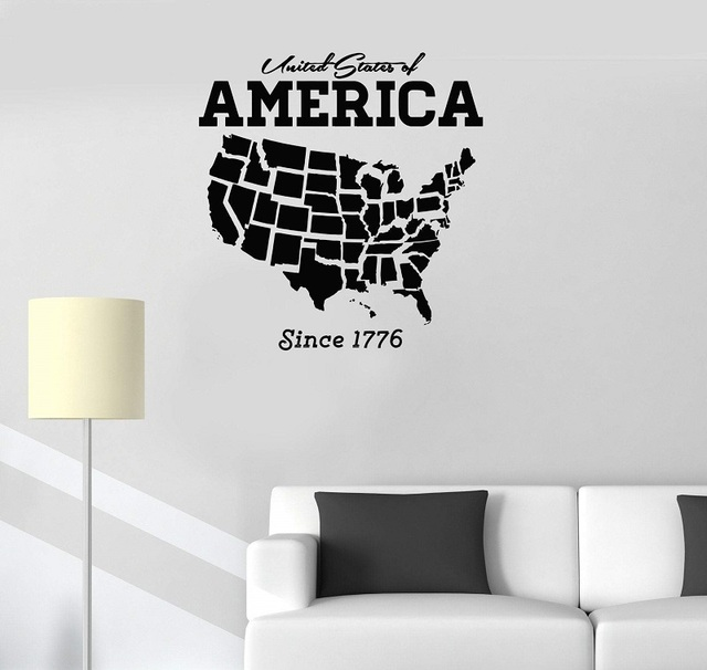 Vinyl Applique USA USA Map Decoration Wall Sticker Art Sticker Living Room Bedroom Home Decor Wallpaper 2DT6