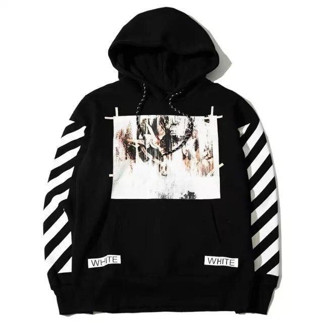 03f344f6f9fb OFF WHITE C O VIRGIL ABLOH religion stripe hooded Pyrex vision men  Euramerican sweatshirt high quality street fashion hoodie