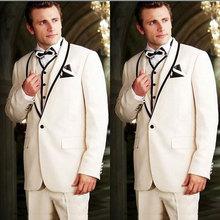 Latest Designs Ivory Men Suits Wedding Black Shawl Lapel Custom Groom Tuxedos Groomsmen Wear 3Piece Slim Fit Costume Homme