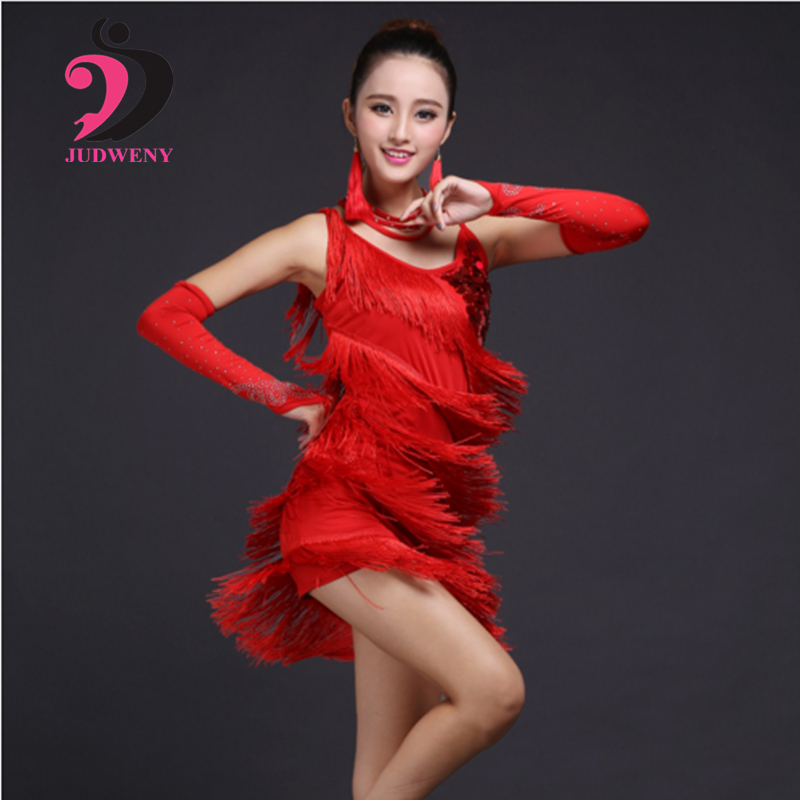 2018 NEW Selling Latin Dance Dress Sequins Cha Cha Tango Bollywood Latin Dancing Skirt Stage Performance Wear 5 Colors