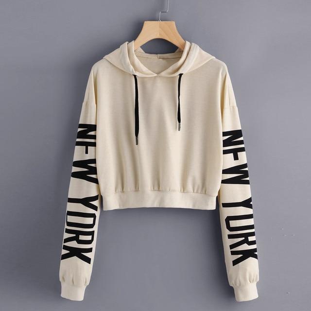 393b3a92aa Letras Impressas Mulheres Streetwear Cropped Moletom Feminino Pullover 2017  Outono Roupas Moleton Feminino Com Capuz