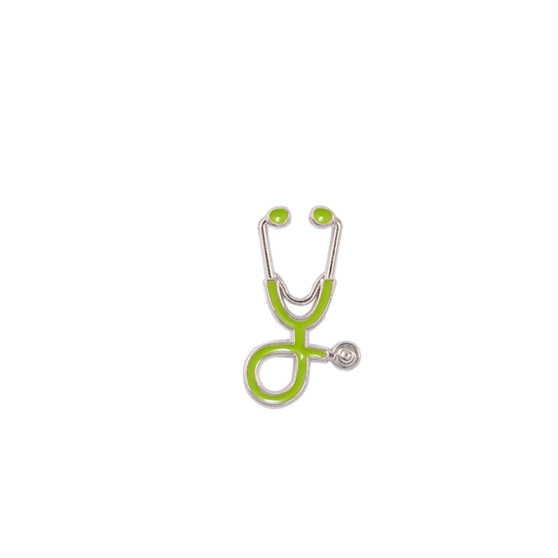 Креативные разноцветные броши, 18 стилей, стетоскоп доктора медсестры, эмалированные булавки, медицинские джинсовые куртки, сумки, ювелирные изделия, значки, подарки - Окраска металла: silver green