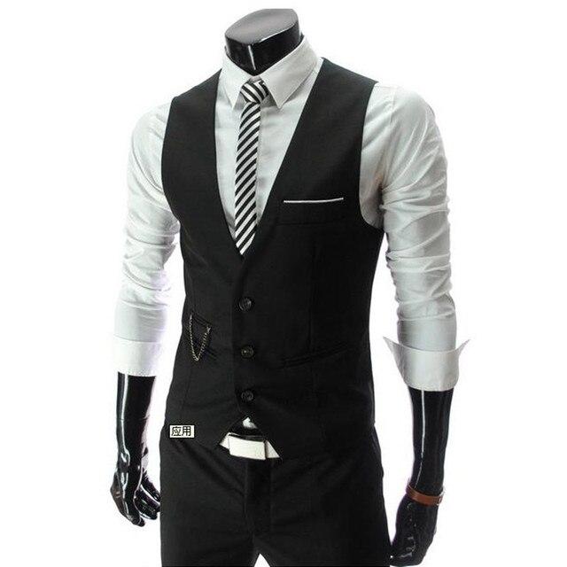 2016 New Lowest Price Men's Vests Hot Sale /  Men's suits vest Autumn Male Casual Slim V-neck Vest Business Suit Vests business
