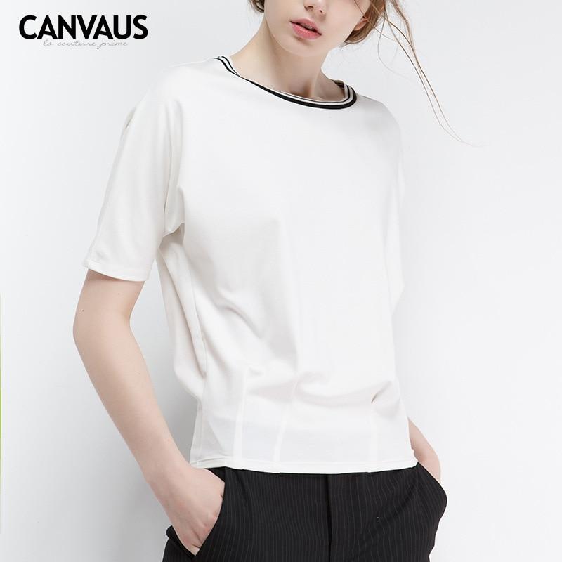 Europe et amérique 2018 été t-shirt nouveau blanc pur grande taille lâche 100 tour col rond à manches courtes t-shirt dame YM0179