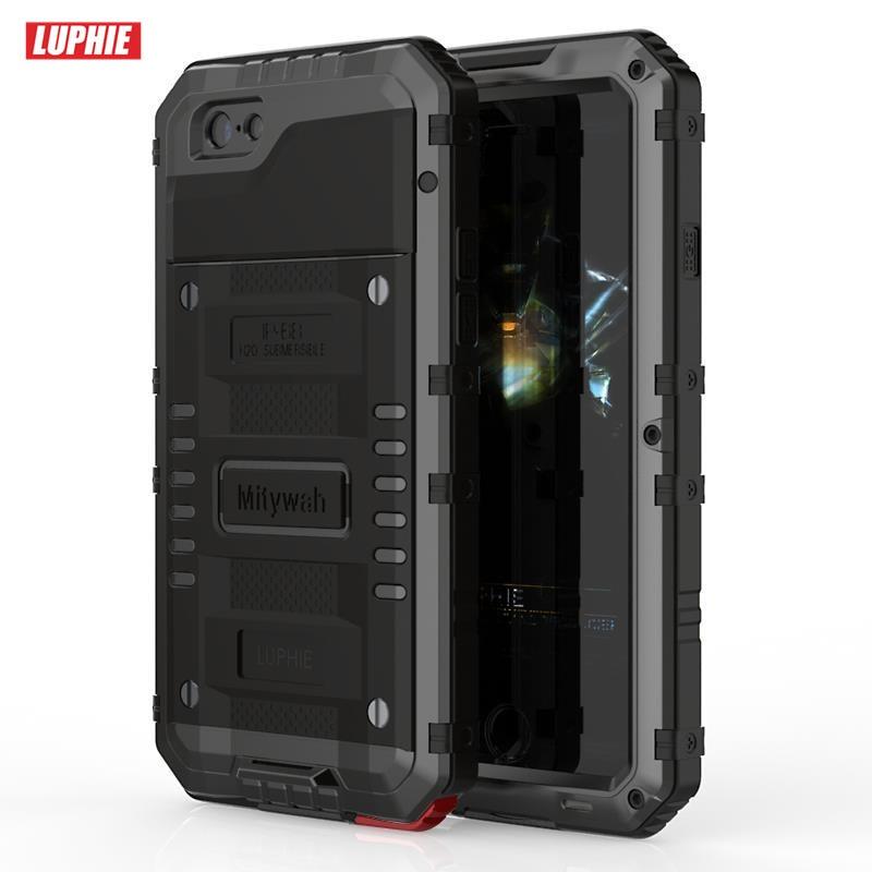 imágenes para Luphie impermeable de aluminio case para iphone se 5 5s 6 6 s 7 más concha armadura a prueba de golpes cubierta a prueba de polvo de metal con vidrio templado