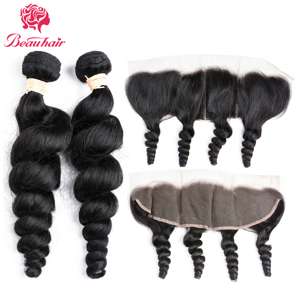Beau Hair Peruvian Loose Wave 2 Bundles With Frontal Closure Human Hair Weave Loose Curly Lace Frontal Closure With Bundles