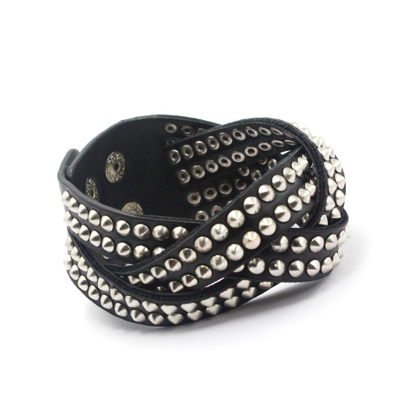 Unique Black PU Rivet Wide Leather Wrap Bracelet Fashion Jewelry Rock Punk Multilayer Bracelets For Women Men Wristband Bangles 2