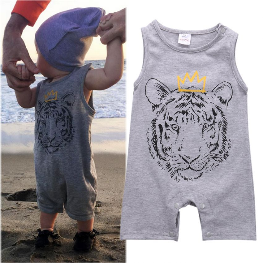 2016 New   Rompers   Cotton Newborn Baby Boys Clothes Tiger Printed Cute minions Short   Romper   Jumpsuit Playsuit Outfits Summer