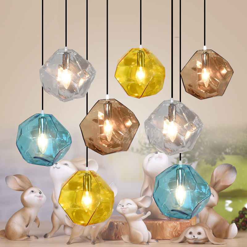 Modern Glass Pendant Lights Fixtures Restaurant Lighting Color Glass Hanging Lamp Bar Art Hanging Lights Cafe led Pendant Lamps modern luxury glass diamond shape pendant lamp restaurant hotel clubs cafe pub shop exhibition fair shining crystal drop lights