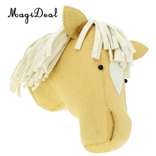 Wall Mount Stuffed Animal Head Horse Hanging Decor Kids Toy Doll ...