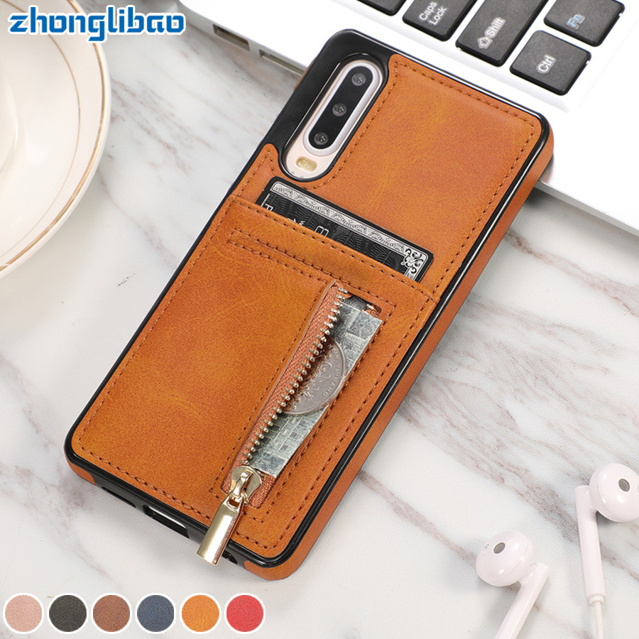 Zipper Leather <font><b>Hawei</b></font> P30 Pro Wallet Case for Huawei P30Pro P30 Mate20 <font><b>Mate</b></font> <font><b>20</b></font> Pro <font><b>Lite</b></font> Card Holder Shockproof Silicone Cover image