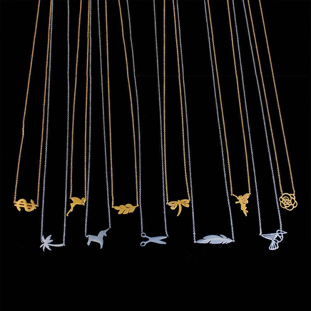 PUN collares y colgantes Cadena de acero inoxidable para mujeres accesorios de joyería femenina joyería de plata de oro sin cuello de moda