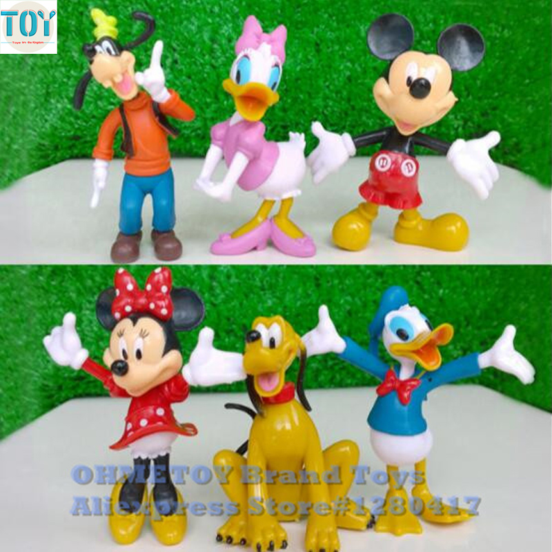 Action & Toy Figures Official Website Ohmetoy 6pcs Mickey Minnie Mouse Toys Goofy Donald Duck Mini Action Figure Doll Cake Toppers Kids Girl Birthday Gift Elegant In Smell