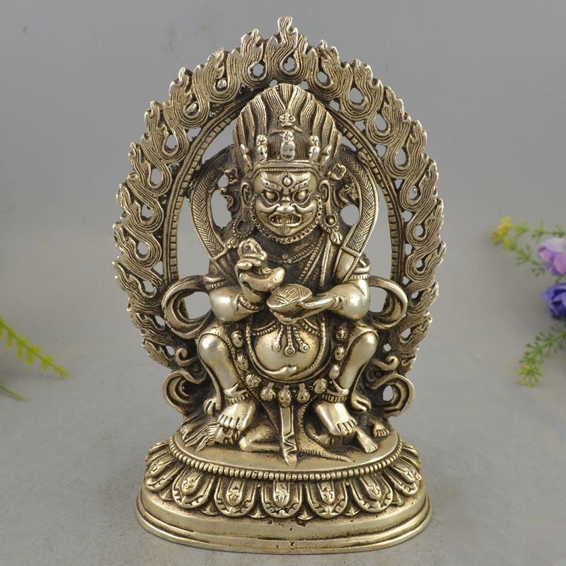 Chiński srebrny siedzenia Jambhala bogactwo bóg budda podświetlenie statua w Posągi i rzeźby od Dom i ogród na  Grupa 1