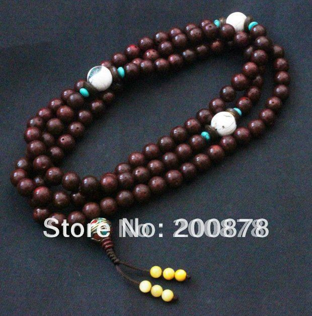 BRO907 Old Red Star Moon Lotus Bodhi Seeds Mala 7mm With Conch Shell Prayer Beads Rosary