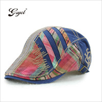 Gsycl New Trend Peaked Cap Plaid Stitching Peaked Hats For Men Outdoor Sun Hat 5