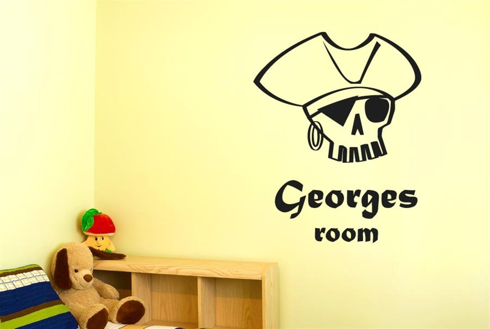 Personalised Pirate Skull boy room Wall Stickers Decals Art kids ...