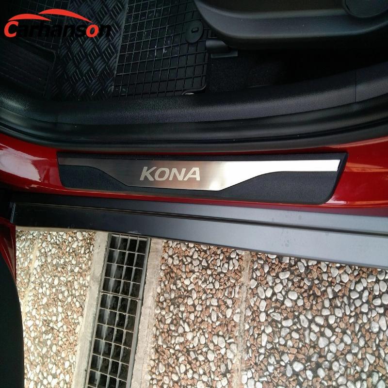 Styling de voiture Pour Hyundai Kona 2018 Accessoires En Acier Inoxydable Seuil De Porte Garniture Plat D'usure Protection Protecteurs Autocollant De Voiture 2019