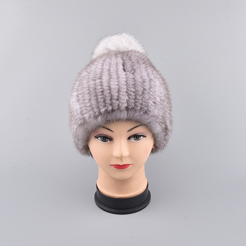 Genuine Mink Fur pom poms Caps Women Knitted Mink Fur Hats With Fur Flower Women Real Fur Beanies Hats Winter