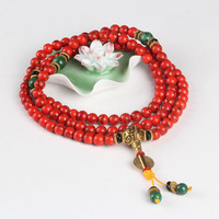 2017 New Arrival Nepal Style 108 Prayer 6mm Beads Chinese Red Ethnic Bracelet For Pray Natural