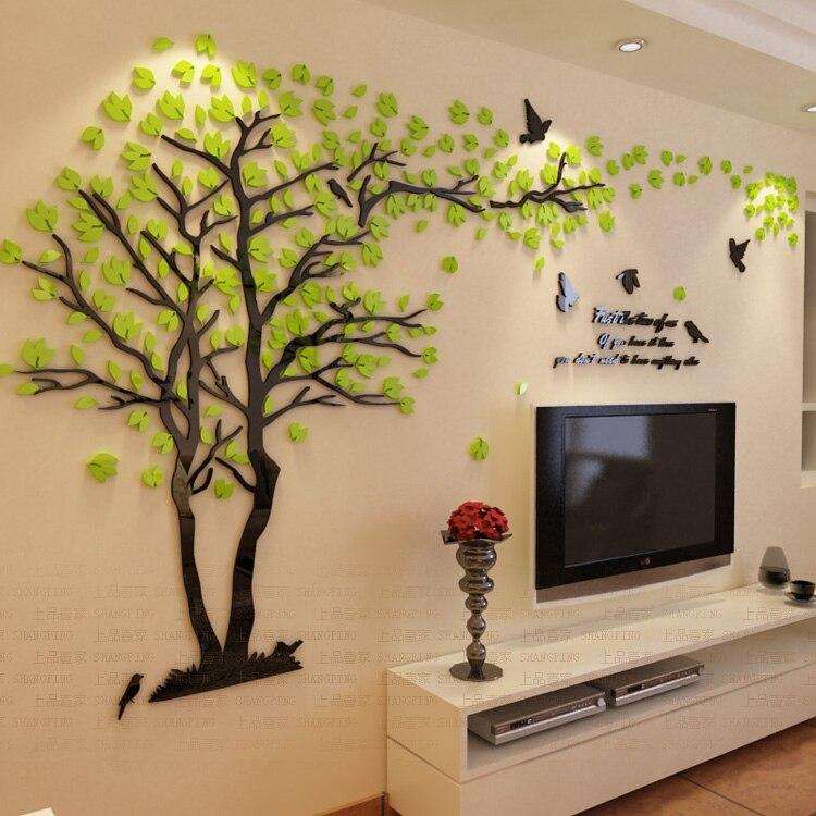 Lovers tree crystal three-dimensional wall stickers Living room tv sofa decoration DIY