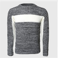 Men Thick Patchwork Sweaters Male Cable Knit Pullovers Warmer Color Block Slim Sweater O Neck Korean