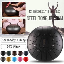 SENRHY Steel Tongue Hand Drum 12 Inch Mini 11-Tone Steel Tongue Percussion Drum Handpan Instrument with Drum Mallets and Bag