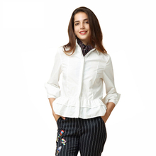 Ruffle Hem Women Blouse Chiffon Turn-Down Collar Long Sleeve Female Tops Vintage Elegant Slim Shirt For Wholesale