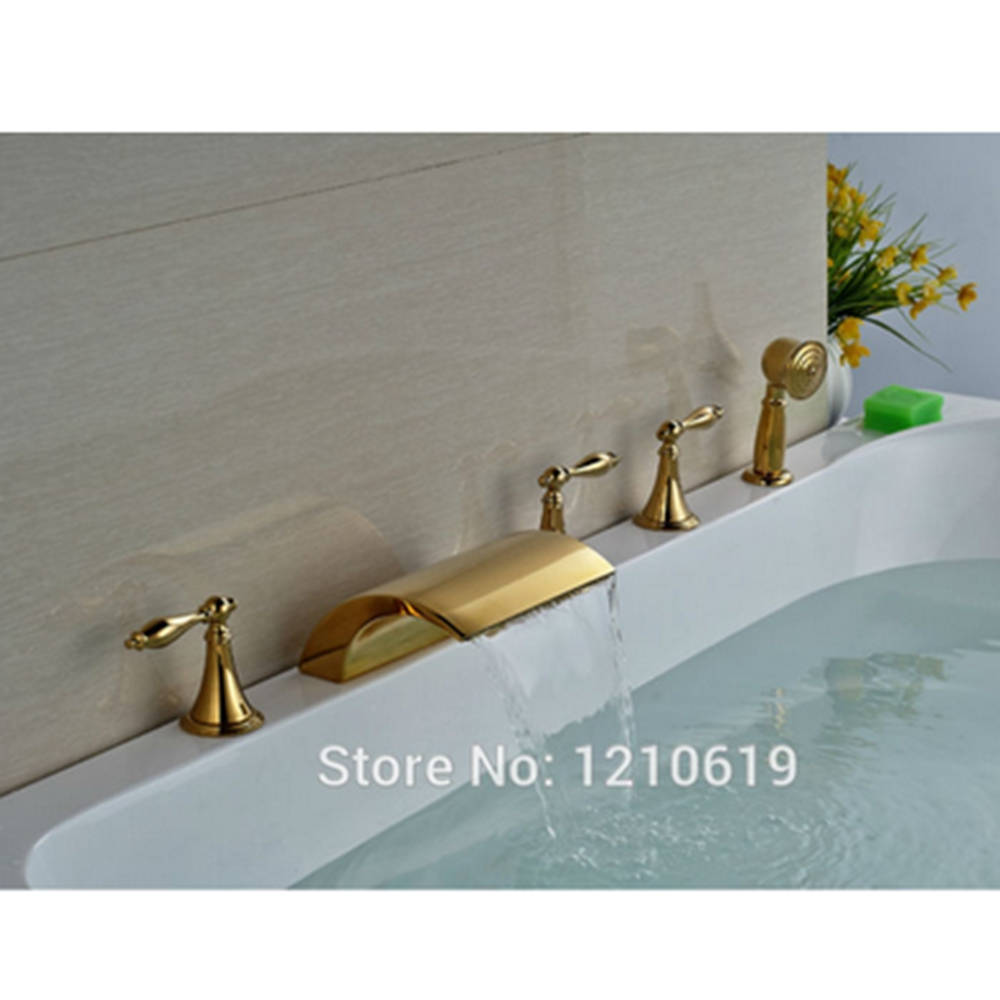 Newly 5Pcs Bathroom Bathtub Faucet Set w/Hand Shower Gold Polished ...