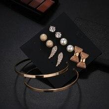 New Vintage Pear Bowknot Stud Earrings Set Mixed For Women Bohemian Statement Earring Jewelry