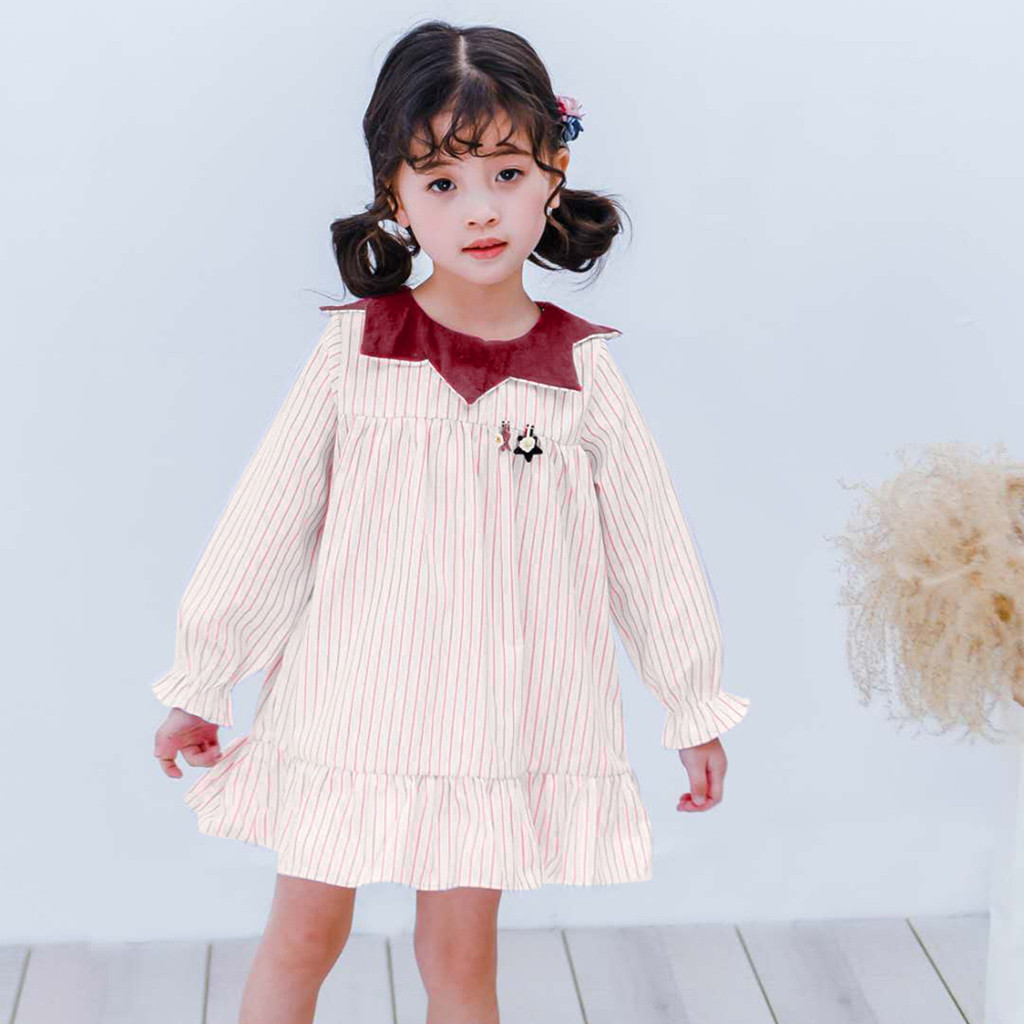 MUQGEW girls teenage clothes costume kids Girls Long Sleeve Doll Collar Stripe Dress roupas infantis menina com frete gratisy2