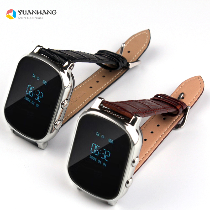 T58 <font><b>Smart</b></font> GPS WIFI Tracker Locator Anti-Verloren Uhr Kinder Elder Kind SOS Anruf Remote Monitor Echtem Leder Strap smartwatch image