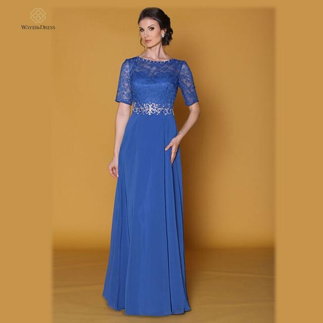 115610930 Elegante blu a-line ha bordato in pizzo lungo abiti da sera maniche corte  Plus