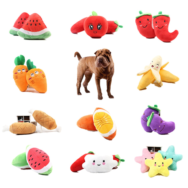 PC. 1 pcs Fruit Vegetables Chicken Drums Bones Squeaker Toy for Stuffed Dog Red Pepper Eggplant Radish Duck Sounding Pet Toy Lots