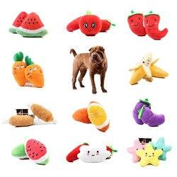 1pc fruta vegetal frango tambor osso squeak brinquedo para cachorro pelúcia vermelho pimenta berinjela rabanete pato soando brinquedos para animais de estimação