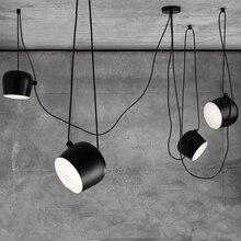 Nordic Pendant Lights LED Drum Pendant Lamp Fixture Black Aluminum Suspension For kitchen Home Lighting Hanging Lamp