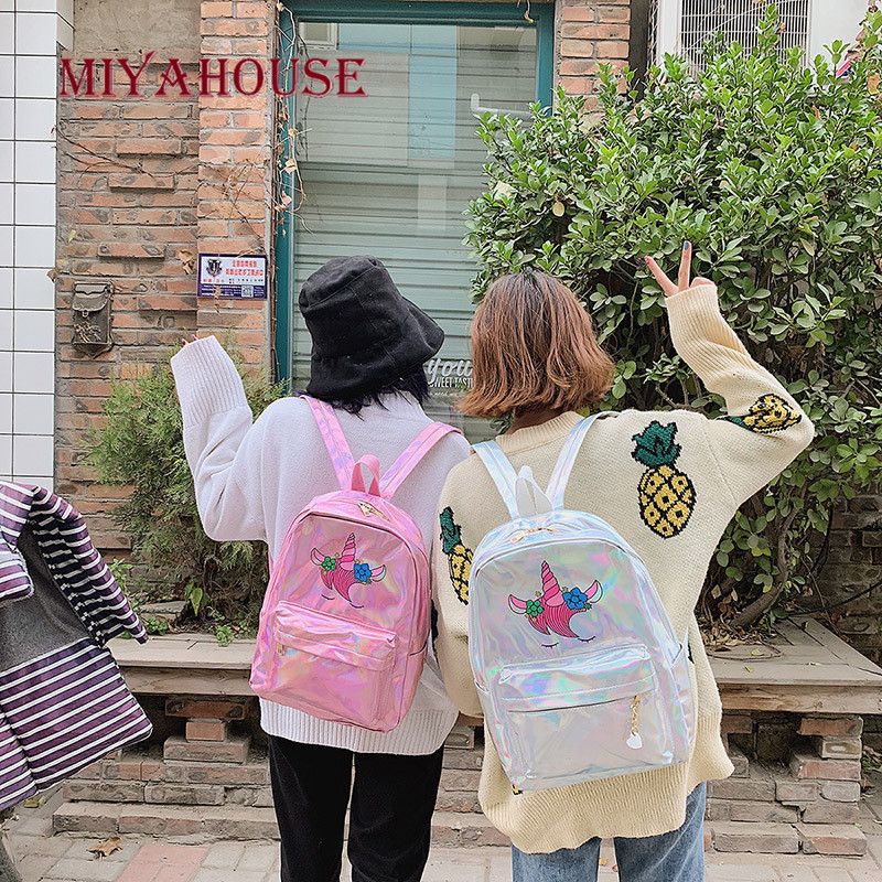 Image 5 - Miyahouse New Fashion Unicorn Design Leather Backpack For Feamle Reflective Laser Women Rucksack Large Capacity Lady School Bag-in Backpacks from Luggage & Bags