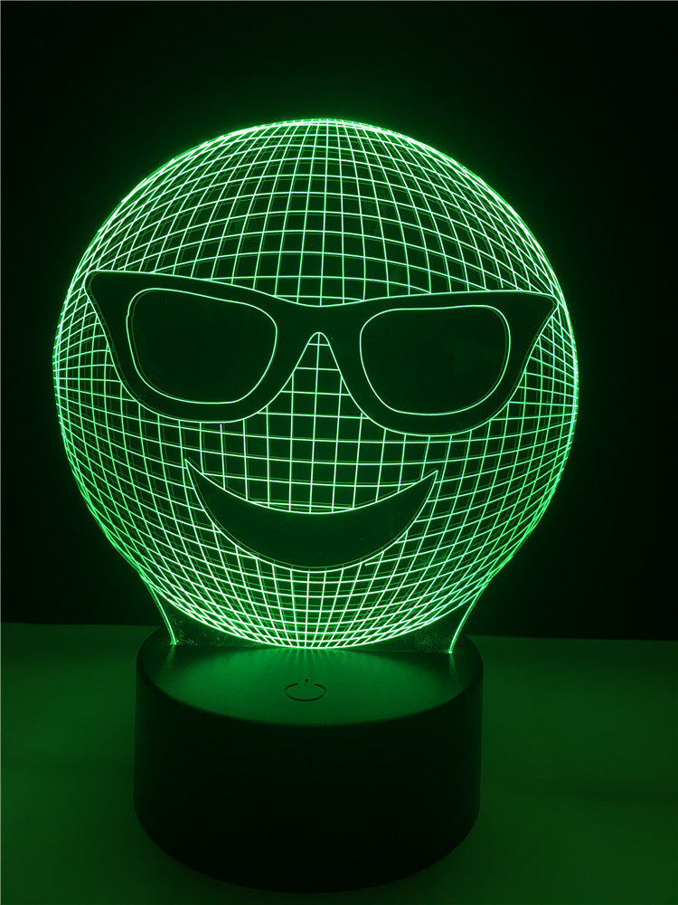 GAOPIN Decorative Lighting Cable 3D LED USB Cool Emoji Wear Sunglasses Bedroom Night Light Multicolor Table Lamp Friends GiftsGAOPIN Decorative Lighting Cable 3D LED USB Cool Emoji Wear Sunglasses Bedroom Night Light Multicolor Table Lamp Friends Gifts