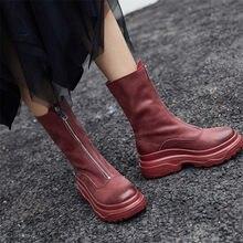 Купить с кэшбэком NAYIDUYUN    Wedges High Heel Shoes Women Genuine Leather Platform Party Pumps Round Toe Winter Warm Punk Sneakers Casual Shoes