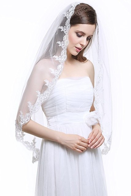 Cheap 2017 Appliqued Wedding Veil Lace Edge Bridal Veils White One-layer Wedding Accessories for Bride