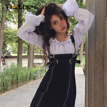 9420273cd0 Black Denim Overall Dress Women Clothes 2018 New Fashion Streetwear Chain  Spaghetti Strap Mini Dress Square Clooar Zipper Casual