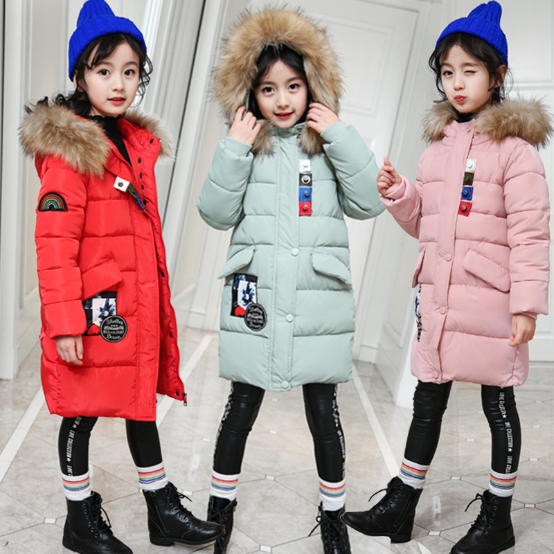 Girls Parkas Cotton Down Jackets For Kids Winter Clothes 2018 New Fashion Fur Collar Warm Parka Jackets 4 5 6 7 8 9 10 11 Years hot man fashion warm parkas size m 3xl patchwork design cotton padded young men winter down jackets parka windproof top quality