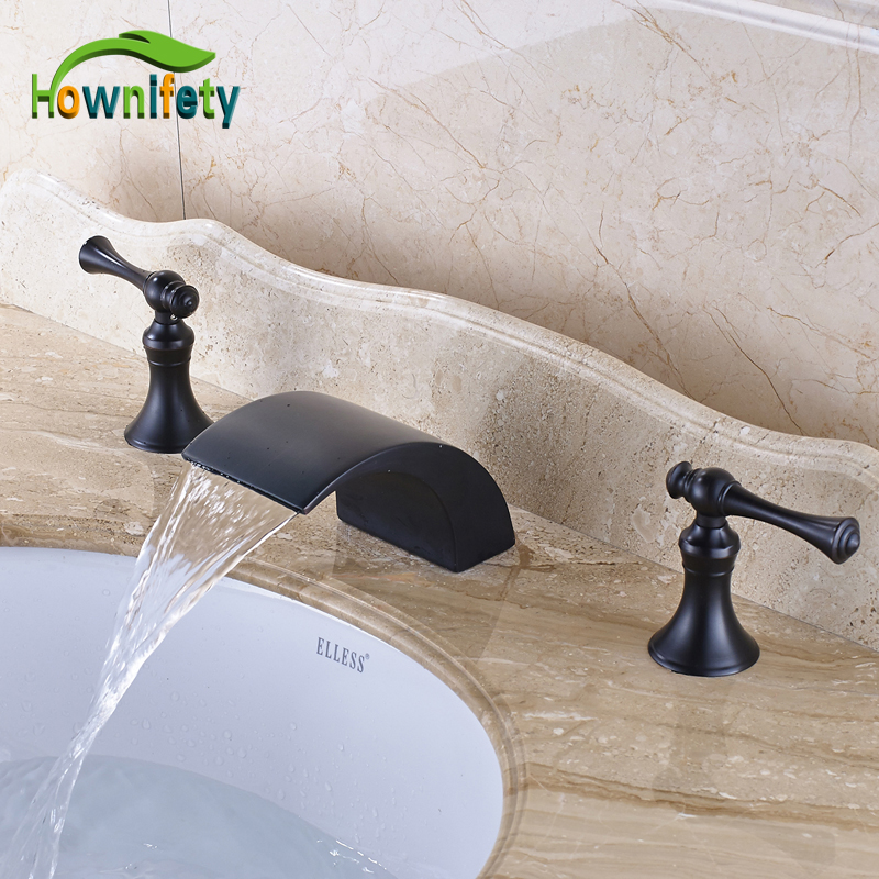 Oil Rubbed Bronze Widespread 3pcs Waterfall Spout Bathroom Sink Faucet Double Handles Mixer Tap стоимость