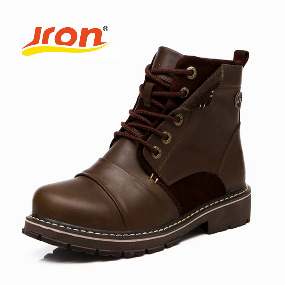 Jron British Retro Boots Men Genuine Leather Brown Motorcycle Boots Casual Shoes Male Fashion Buckle Quality
