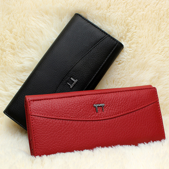 Hot Sale! Genuine Leather Purse Women Leather Wallets Brand OL Brief Cowhide Lady Clutch Bag Business Card Holder Coin Purse Bag
