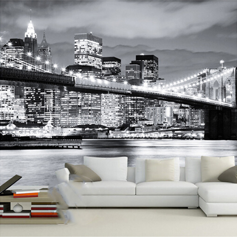 Custom Mural Night View Manhattan Bridge New York European And American Cities Black And White Living Room Backdrop Wallpaper